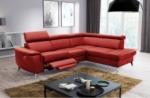 canapé d'angle en cuir italien de luxe 5/6 places avec relax électrique et coffre, lincoln, rouge foncé, angle droit