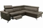 canapé d'angle en cuir italien de luxe 5/6 places avec relax électrique et coffre, lincoln, taupe, angle droit