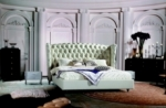 lit design de luxe princesse, avec sommier à lattes, écru 140x200