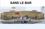 canapé d'angle en cuir buffle italien de luxe 7 places londres beige, angle droit, canapé personnalisé sur mesure sans le bar
