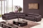 canapé d'angle en cuir buffle italien de luxe 7 places londres chocolat, angle gauche