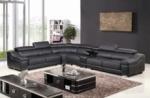 canapé d'angle en cuir buffle italien de luxe 7 places londres noir, angle gauche