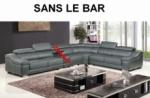 canapé d'angle en cuir buffle italien de luxe 7 places londres gris foncé, angle droit, canapé personnalisé sur mesure sans le bar