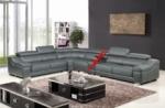 canapé d'angle en cuir buffle italien de luxe 7 places londres gris foncé, angle gauche, canapé personnalisé sur mesure sans le bar