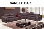 canapé d'angle en cuir buffle italien de luxe 7 places londres chocolat, angle droit, canapé personnalisé sur mesure sans le bar