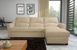 canapé d'angle convertible en cuir de luxe italien , 5 places lugano, beige, angle droit