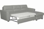 canapé d'angle convertible en cuir de luxe italien , 5 places lugano, gris clair, angle droit
