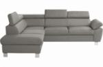 canapé d'angle en cuir italien de luxe 5 places lutece gris clair, angle gauche