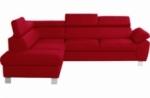 canapé d'angle en cuir italien de luxe 5 places lutece rouge foncé, angle gauche