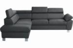 canapé d'angle en cuir italien de luxe 5 places lutece gris foncé, angle gauche