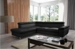 - canapé d'angle en cuir italien de luxe 5 places lutece noir, angle gauche