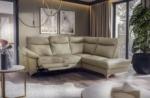 canapé d'angle en cuir italien de luxe 5 places luzerne, avec relax électrique et coffre, beige, angle droit