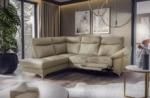 canapé d'angle en cuir italien de luxe 5 places luzerne, avec relax électrique et coffre, beige, angle gauche