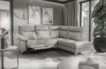 canapé d'angle en cuir italien de luxe 5 places luzerne, avec relax électrique et coffre, gris clair, angle droit