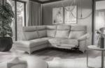 - canapé d'angle en cuir italien de luxe 5 places luzerne, avec relax électrique et coffre, gris clair, angle gauche