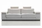 canapé 3 places en cuir italien maison blanche, blanc