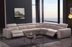 canapé d'angle double relax en cuir de buffle italien de luxe 7/8 places maxirelax, beige, angle droit
