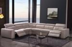 canapé d'angle double relax en cuir de buffle italien de luxe 7/8 places maxirelax, beige, angle gauche