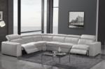canapé d'angle double relax cuir de buffle italien de luxe 7/8 places maxirelax, blanc, angle gauche