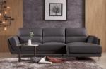 canapé d'angle en cuir buffle italien de luxe 5 places costes, chocolat, angle droit