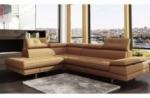 canapé d'angle en cuir italien 6 places moda, beige