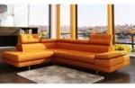 canapé d'angle en cuir italien 6 places moda, orange