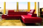 canapé d'angle en cuir italien 6 places moda, rouge