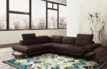 canapé d'angle en cuir italien 5 places moderni, chocolat
