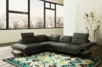 canapé d'angle en cuir italien 5 places moderni, gris foncé