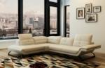canapé d'angle en cuir italien 5 places moderni, ivoire