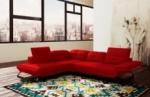 canapé d'angle en cuir italien 5 places moderni, rouge