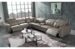 canapé d'angle relax en cuir de buffle italien de luxe avec 2 relax électriques, 7/8 places, monte carlo, couleur moka, angle gauche, 1 pouf offert