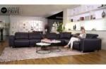 canapé d'angle relax en cuir de buffle italien de luxe double relax électrique, 7/8 places, monte carlo, couleur noir, angle droit