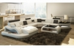 canapé d'angle en cuir italien 8 places nordik, blanc et gris foncé