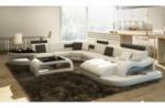canapé d'angle 8 places nora blanc et gris foncé, angle gauche et méridienne à droite