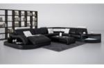 canapé d'angle 8 places nora, noir et blanc, angle droit méridienne à gauche