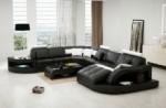 canapé d'angle 8 places nora noir et blanc, angle gauche et méridienne à droite