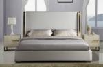 lit design en cuir italien de luxe perfecto, avec sommier à lattes, gris clair pastel, 140x190