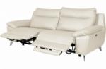 canapé taille 2 places avec 2 relax en 100% tout cuir épais de luxe italien avec 2 relax électriques, perini, blanc cassé
