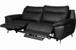 canapé taille 2 places avec 2 relax en 100% tout cuir épais de luxe italien avec 2 relax électriques, perini, noir