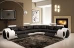 canapé d'angle en cuir italien :  5/6 places petit excelia, noir et blanc