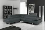 canapé d'angle en cuir italien 5/6 places - petit george, gris foncé, angle gauche