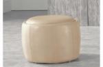 pouf rond buffalino en cuir de buffle (gamme de cuir de buffle), beige