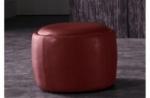 pouf rond buffalino en cuir de buffle (gamme de cuir de buffle), bordeaux
