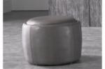 pouf rond buffalino en cuir de buffle (gamme de cuir de buffle), moka