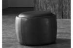 pouf rond buffalino en cuir de buffle (gamme de cuir de buffle), noir