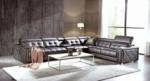 canapé d'angle en cuir de buffle italien de luxe, 6/7 places, prestigia, chocolat, angle droit