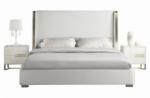 lit design en cuir italien de luxe perfecto, avec sommier à lattes, blanc, 140x190
