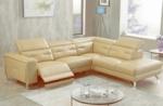 canapé d'angle avec un relax électrique en cuir de buffle italien de luxe 6 places revolax beige, angle droit,  pouf offert