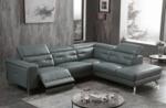 canapé d'angle avec un relax électrique en cuir de buffle italien de luxe 6 places revolax gris foncé, angle droit,  pouf offert